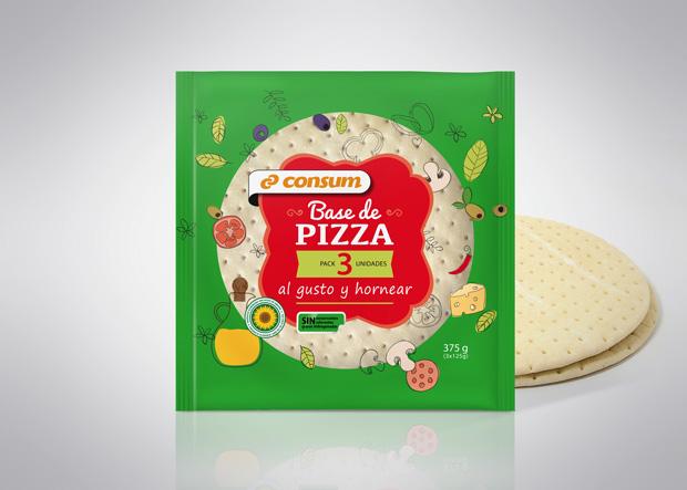 base pizza congelada supermercado consum diseño duplo comunicacio grafica
