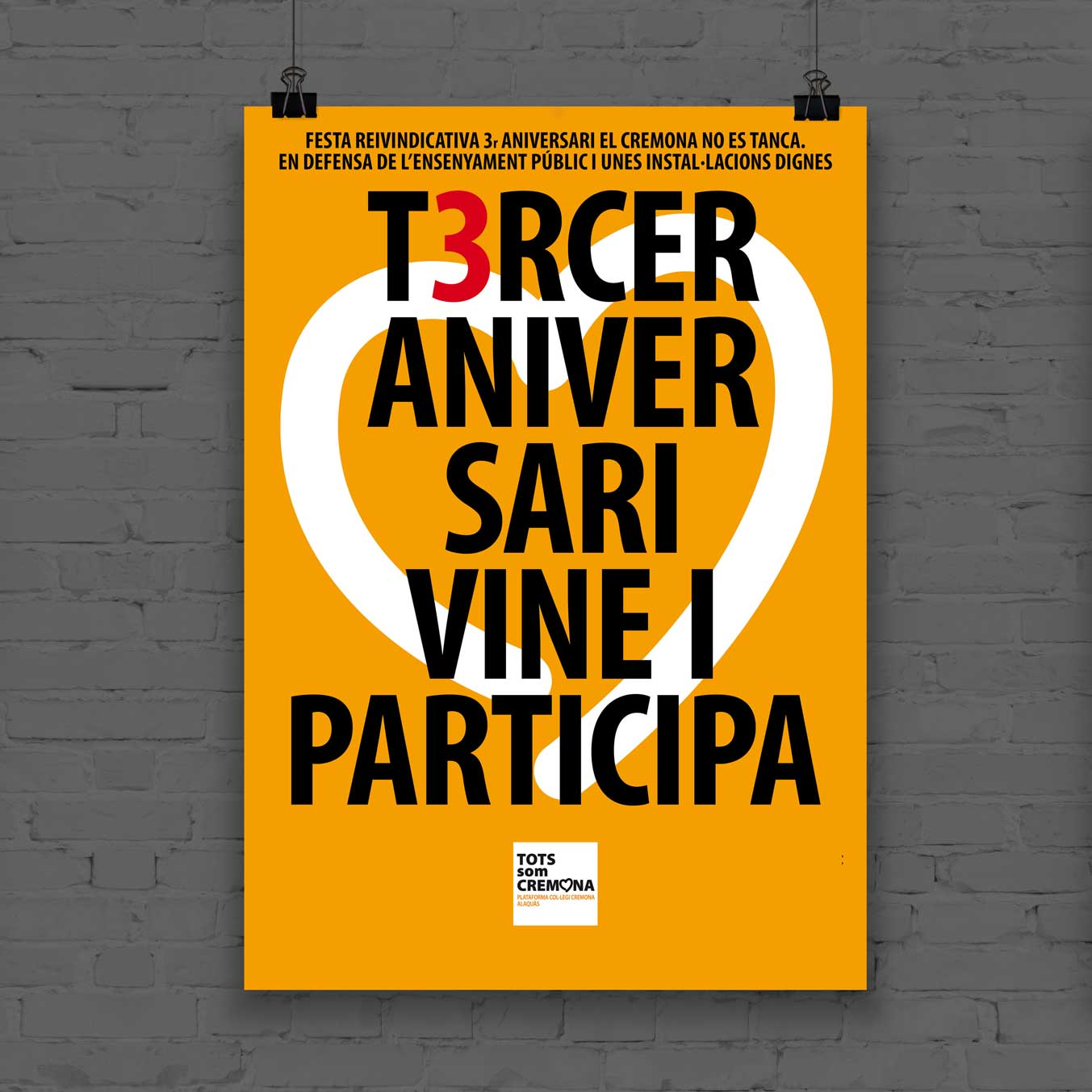 cartel 3 aniversario plataforma colegio cremona