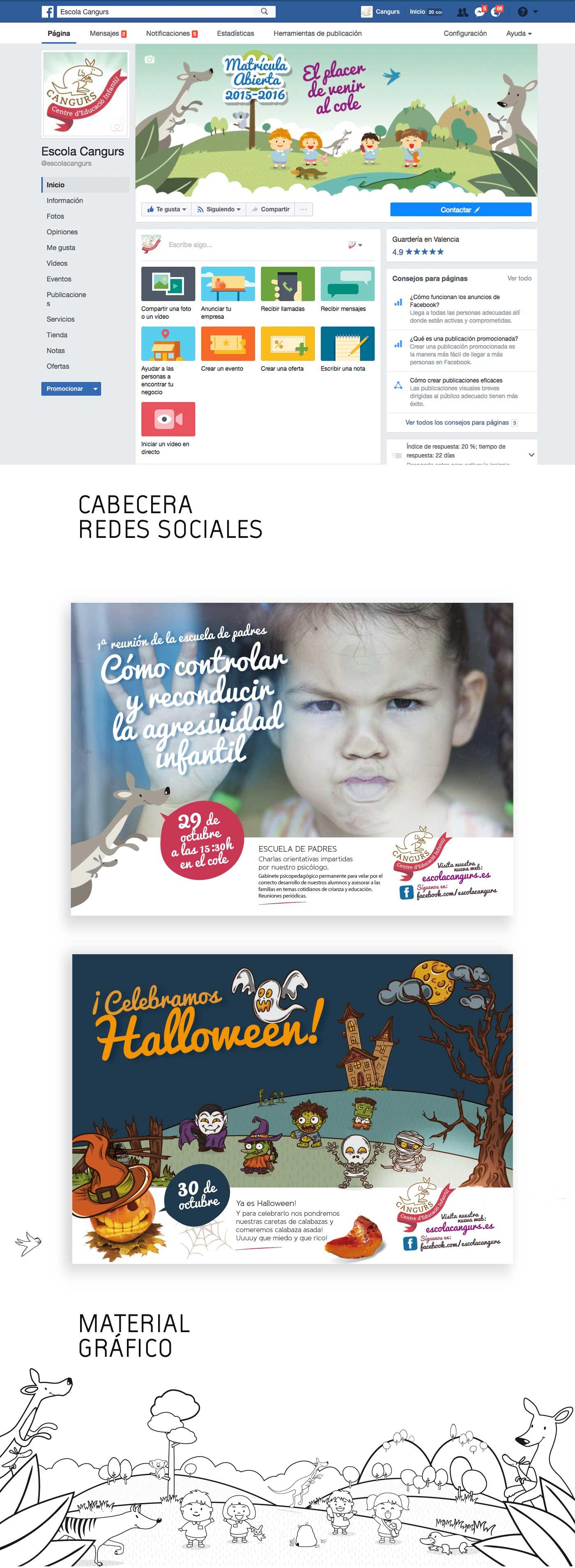Redes sociales y diseño de carteles para guardería en valencia