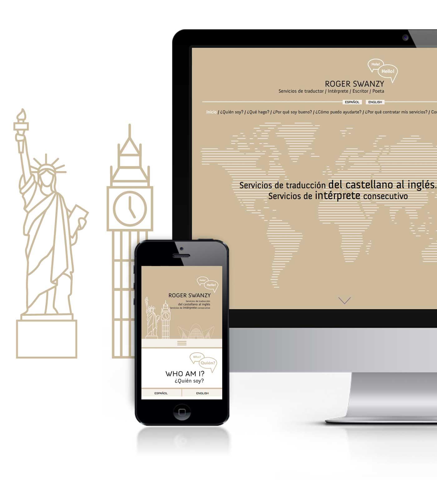 web responsive ROGER SWANZY Servicios de traductor / Intérprete